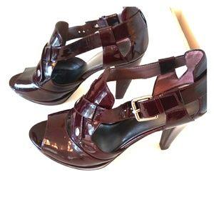 Burgundy Nine West Chunky Heels Size 8